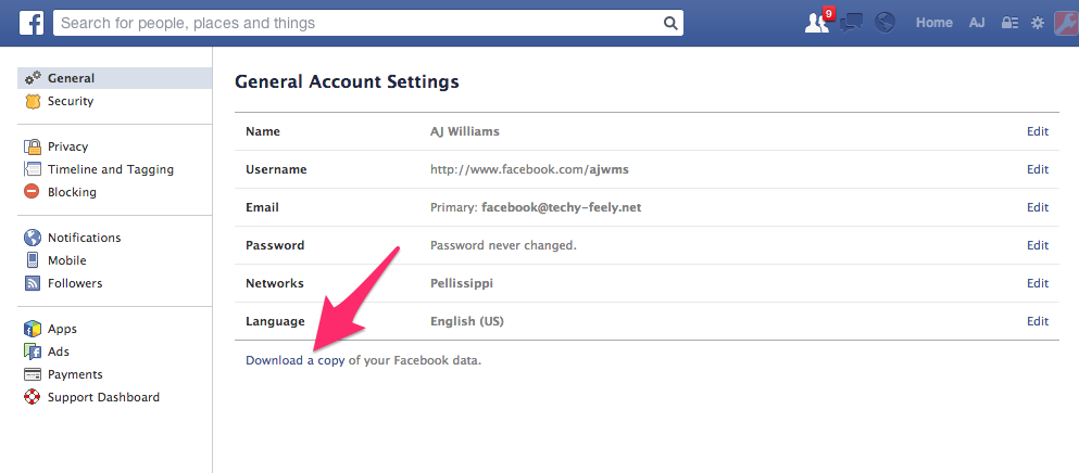 screenshot of Facebook showing where to click for requesting archive of files.
