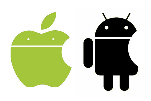 Apple Computer and Android logos merged